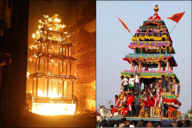 A fire destroyed the decades old chariot of Antarvedi Lakshmi Narasimha Swamy temple in Andhra Pradesh